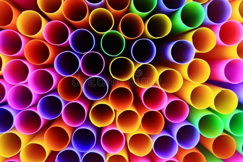 Colorful of drinking straws, top view, closeup, macro,. Abstract texture background stock photos