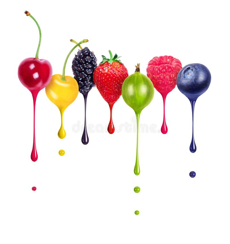 Free Colorful Drops Dripping From Different Berries Closeup, Isolated On White Background Stock Image - 166128631