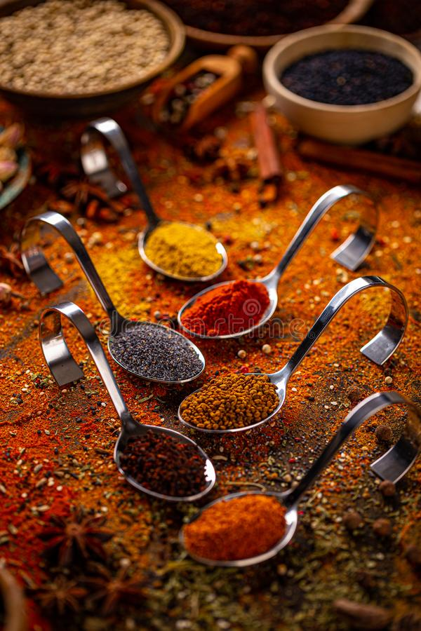 Colorful dry herbs and spices. For cooking food stock photo