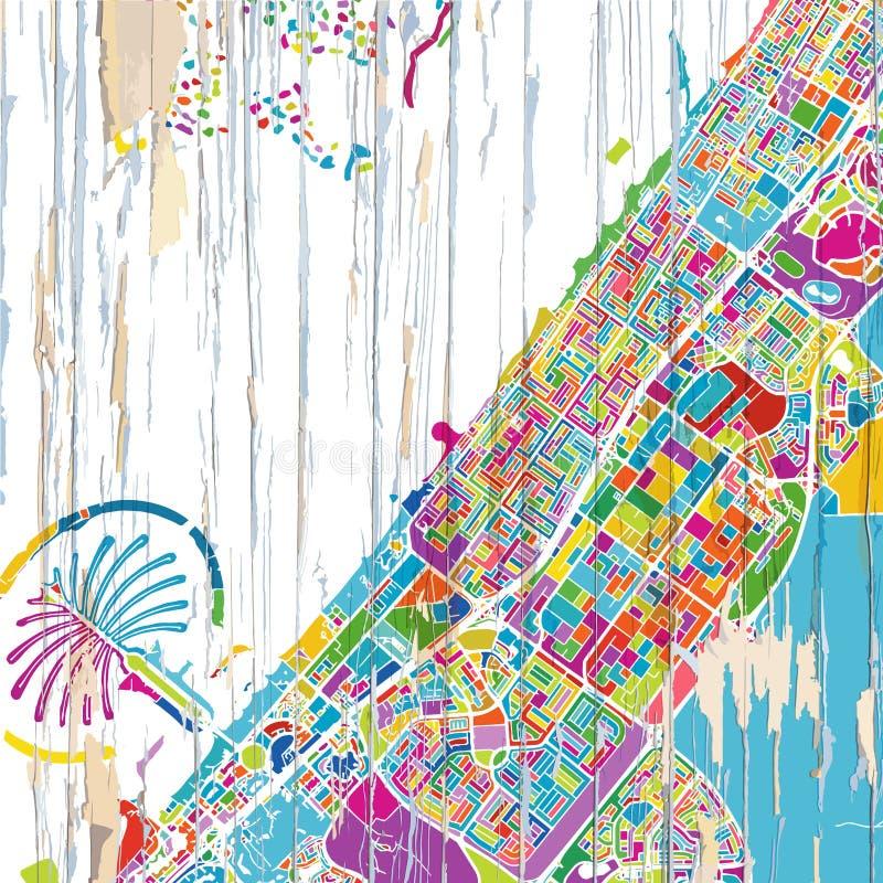 Colorful Dubai map royalty free illustration