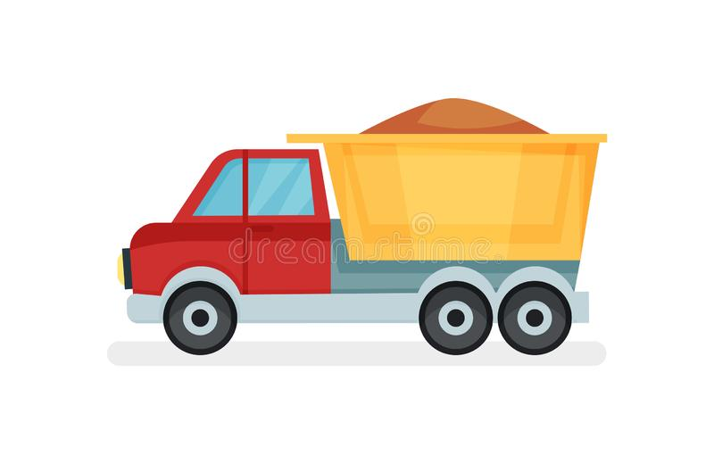 Dump truck with sand. Heavy machine using in construction industry. Heavy motor vehicle. Flat vector icon. Colorful dump truck with sand. Heavy machine using in stock illustration