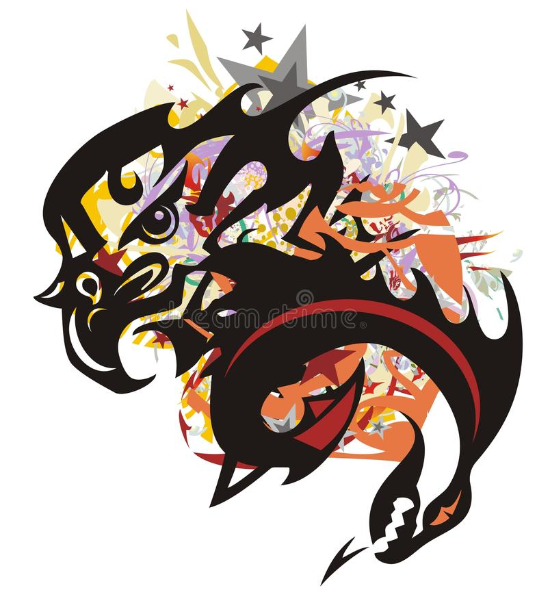 Colorful eagle splashes with dragon head stock illustration