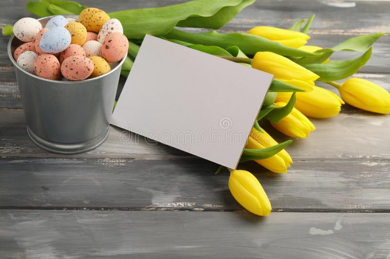 Colorful easter candy eggs with yellow tulips and empty greeting card royalty free stock photos