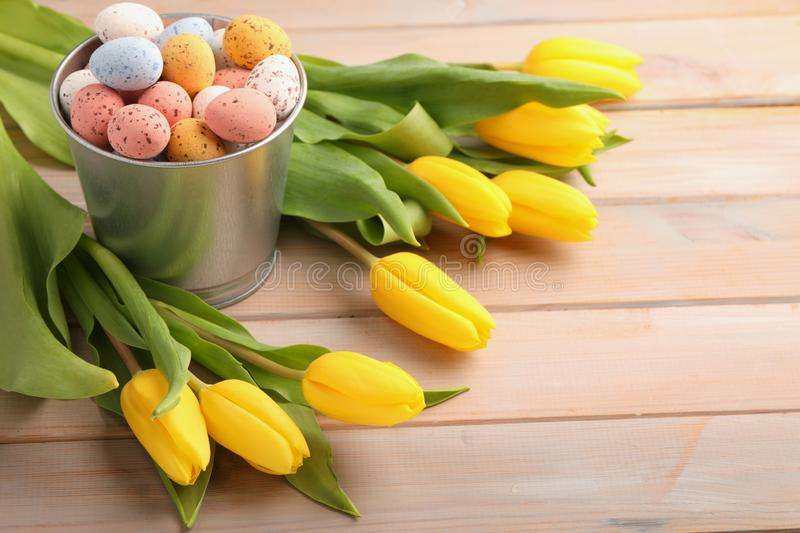 Colorful easter candy eggs with yellow tulips stock images