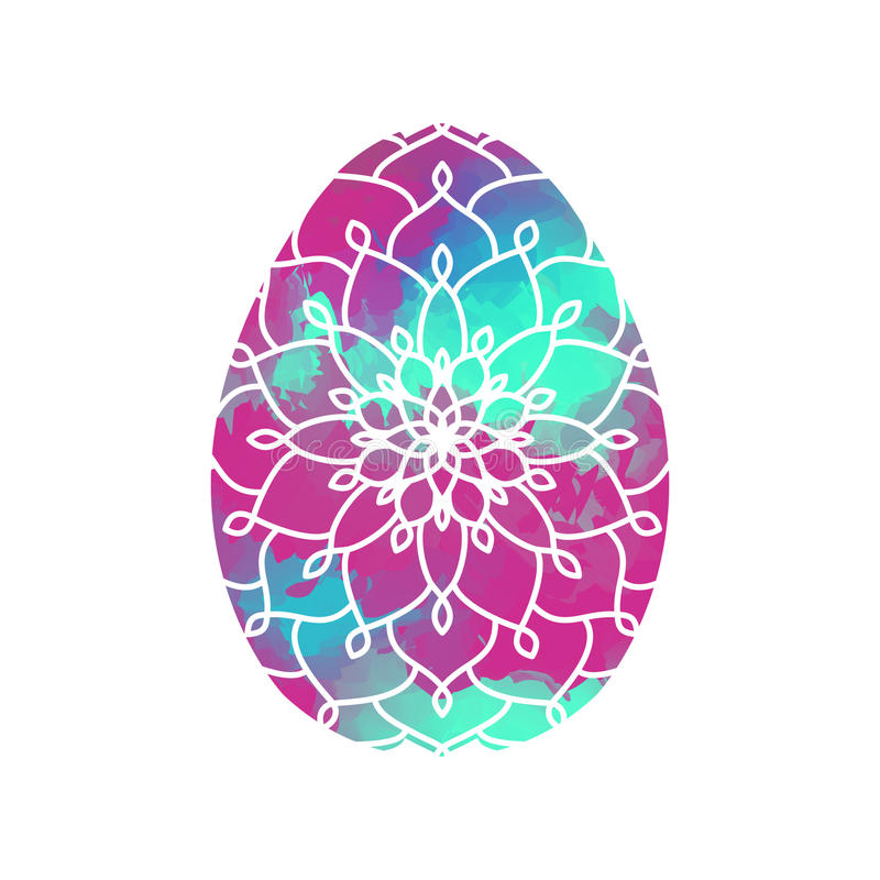 Download Colorful Easter Egg With Mandala Pattern On Watercolor Backgroun Stock Vector