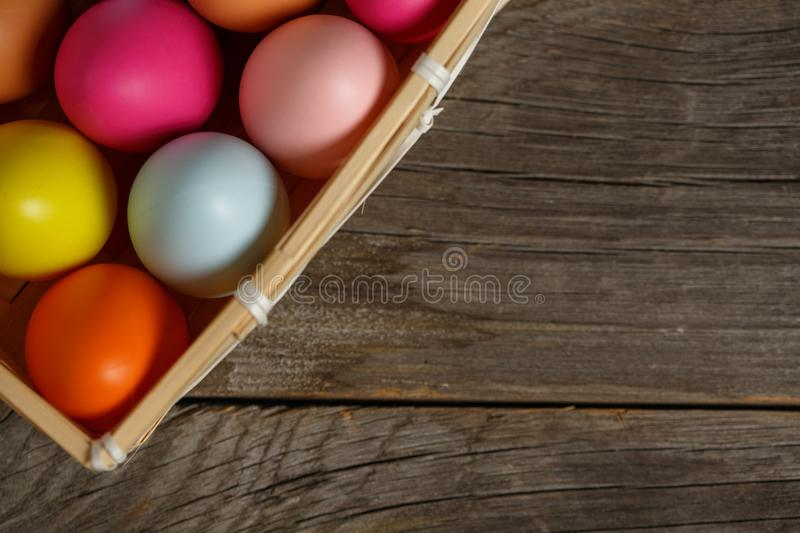 Colorful easter egg in the nest on wood background with space. stock photography