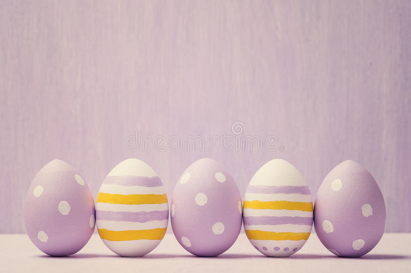 Colorful easter eggs. Background with easter eggs. With retro filter effect stock photography