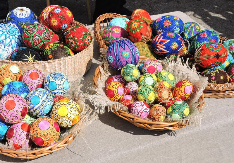 Colorful Easter eggs and balls royalty free stock photo