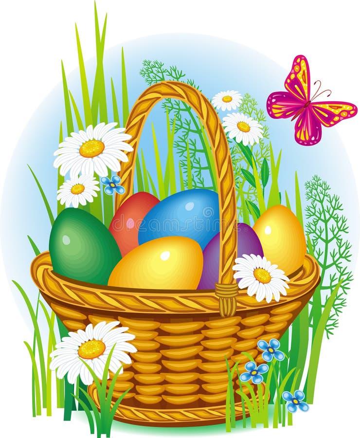Colorful Easter Eggs in basket vector illustration