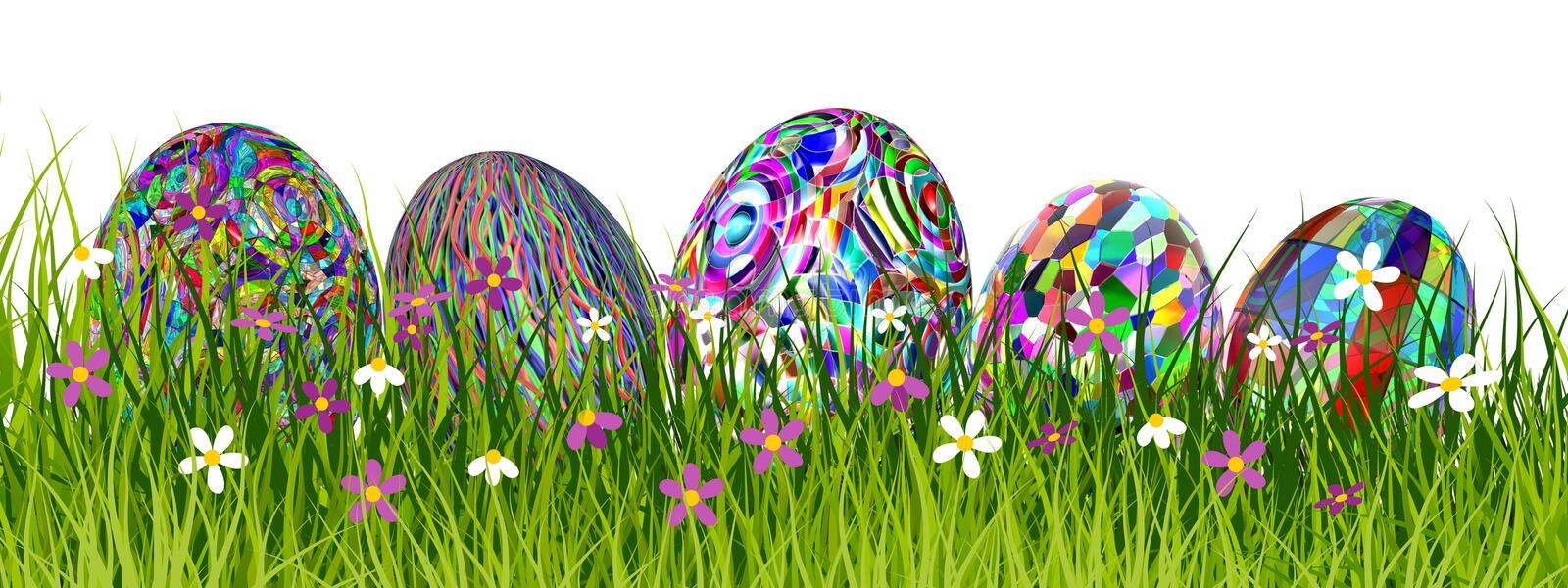 Colorful Easter eggs in beautiful grass - 3D render royalty free illustration