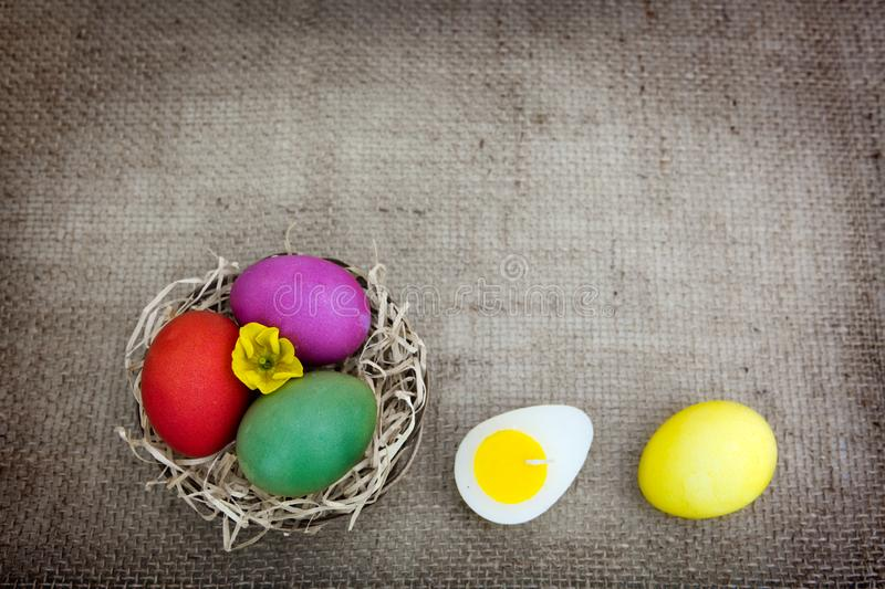 Easter eggs in the nest isolated on brown background. stock photos
