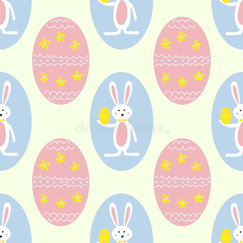 Colorful Easter Eggs and Bunny Seamless Pattern Print Background stock illustration