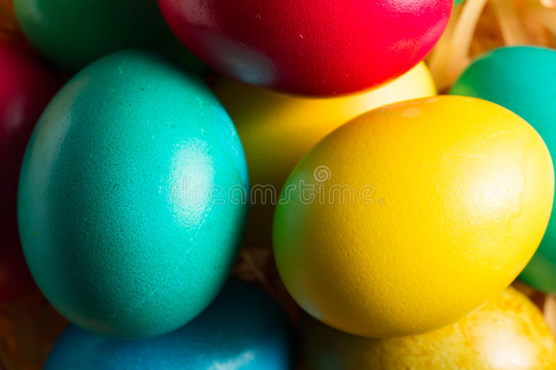 Colorful easter eggs close up stock photo