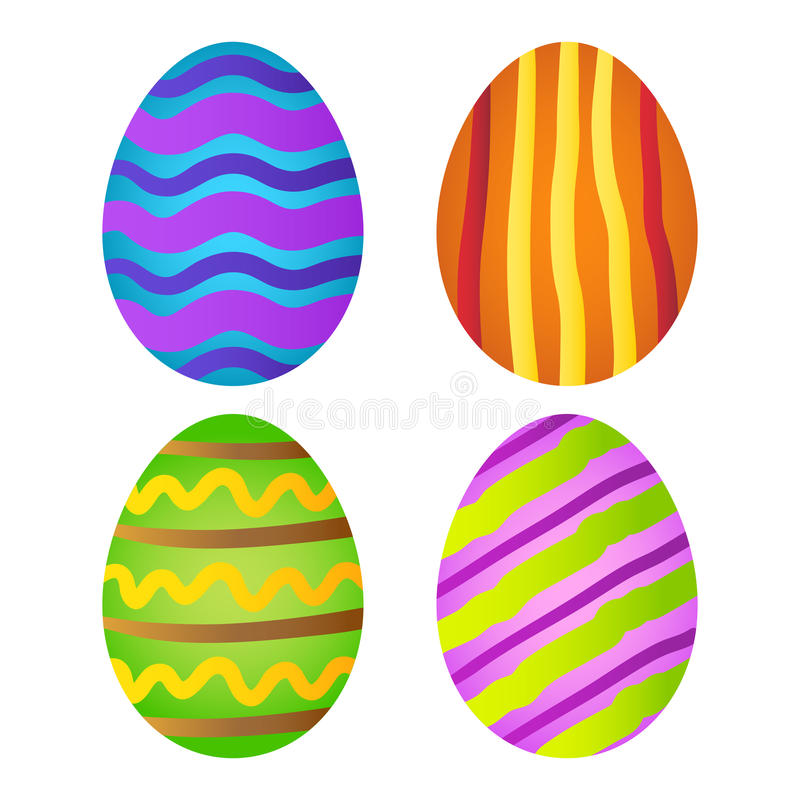 Colorful Easter Eggs Collection. Group of colorful hand drawing easter eggs, vector illustration royalty free illustration