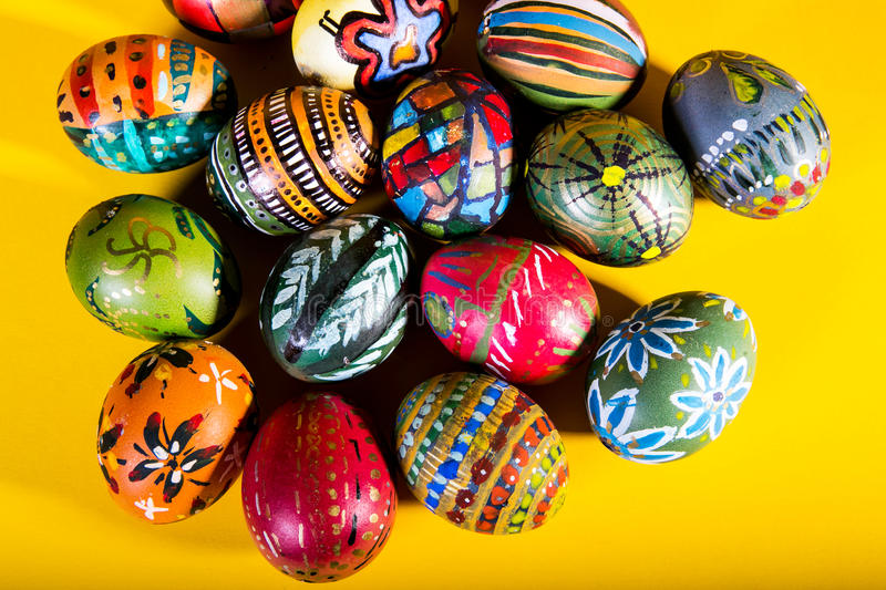 Colorful easter eggs decoration stock images