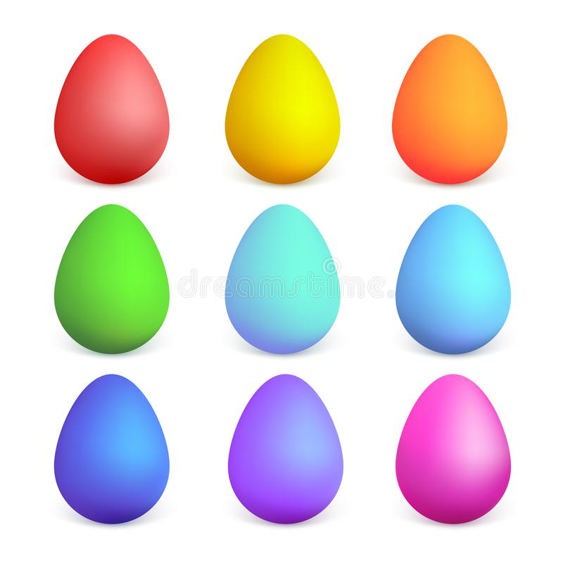 Colorful Easter eggs with different colors. Easter eggs collection on a white background. Vector illustration. Colorful Easter eggs with different colors vector illustration