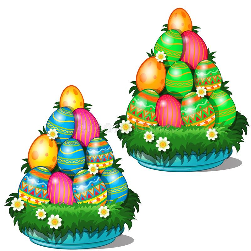 Colorful Easter eggs with different patterns stacked in cone on plate with grass and flowers. Symbol for holiday vector illustration