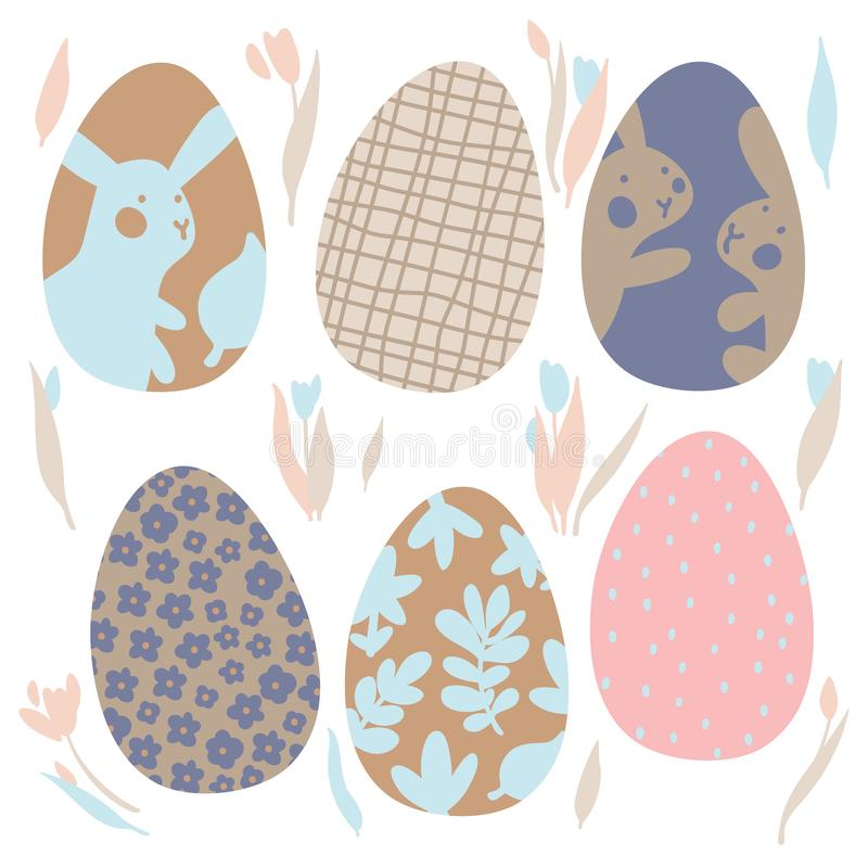Colorful Easter Eggs Doodle Set Decorations. Spring Flowers. Bright Colors. Great for postcard, fabric, holiday ideas. Colorful Easter Eggs Doodle Set vector illustration