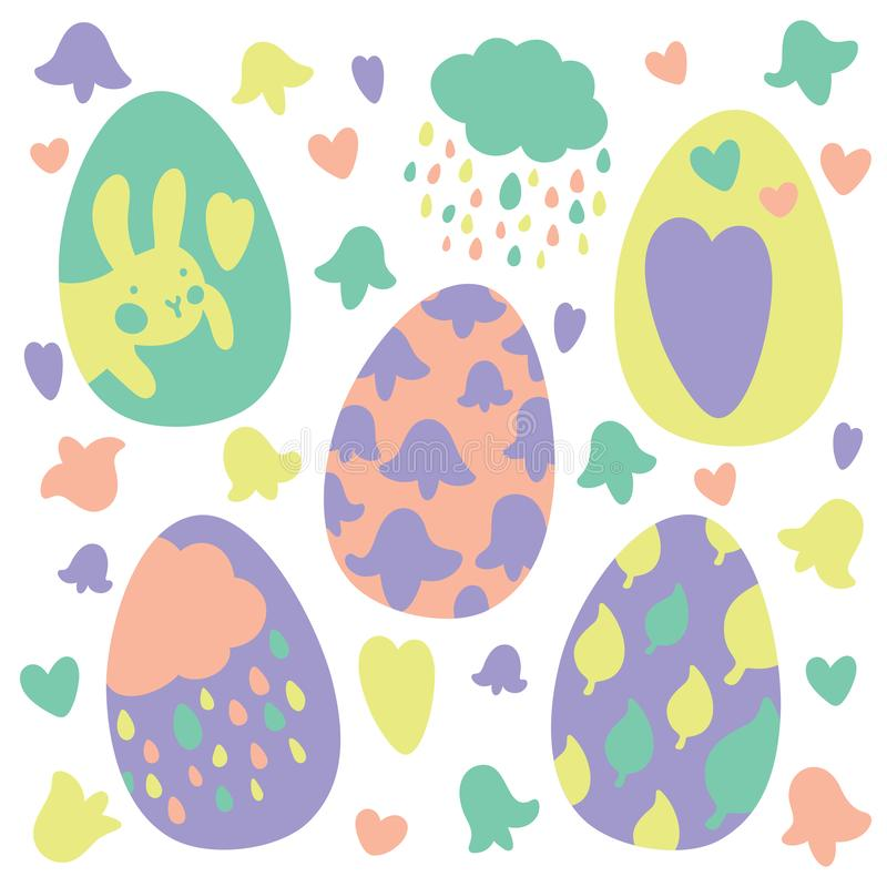 Colorful Easter Eggs Doodle Set Decorations. Spring Flowers. Bright Colors. Great for postcard, fabric, holiday ideas. Colorful Easter Eggs Doodle Set stock illustration