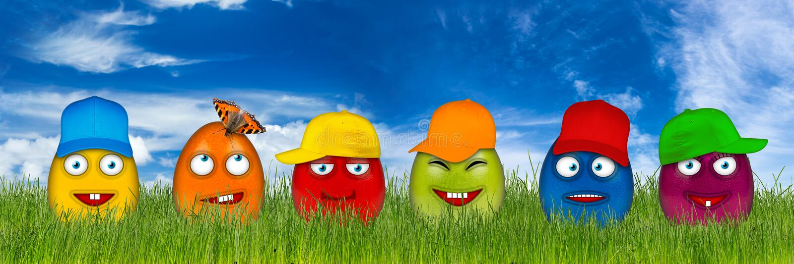 Colorful easter eggs with funny faces stock images