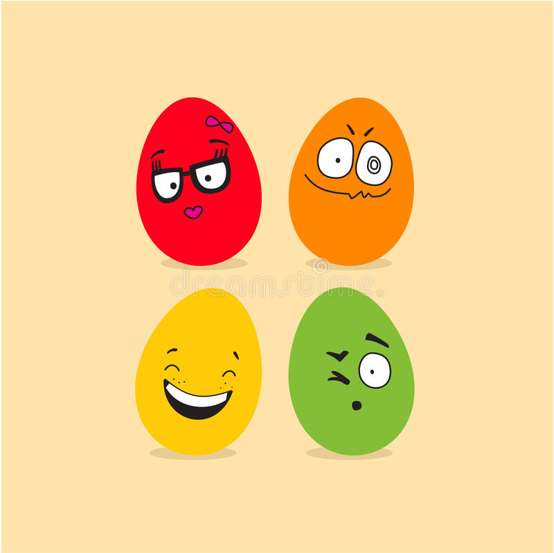 Colorful Easter eggs with funny faces stock illustration