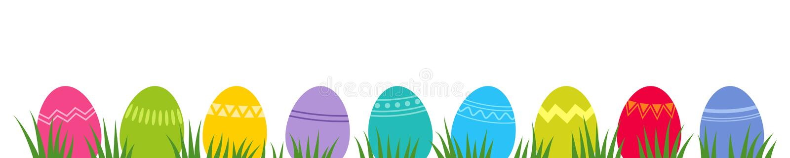 Colorful easter eggs with geometric patterns on grass, flat design, horizontal banner vector illustration