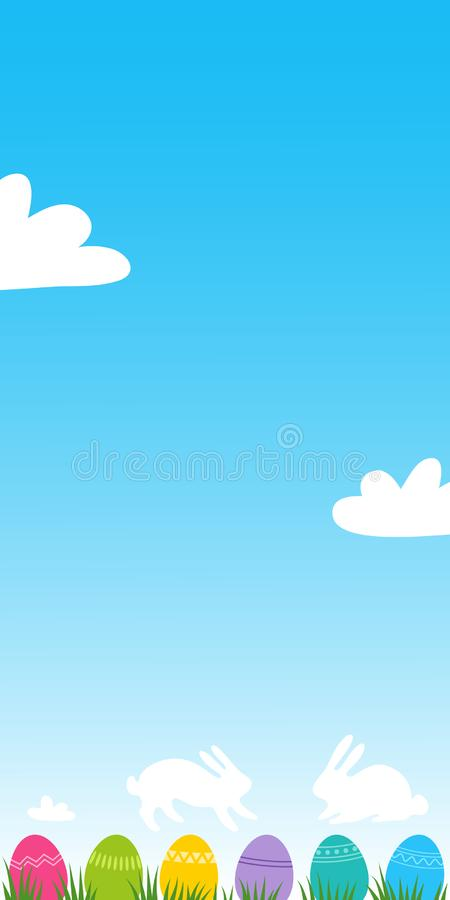 Colorful easter eggs on grass with clouds shaped like Easter Bunnies, vertical banner with blue sky and room for text royalty free illustration