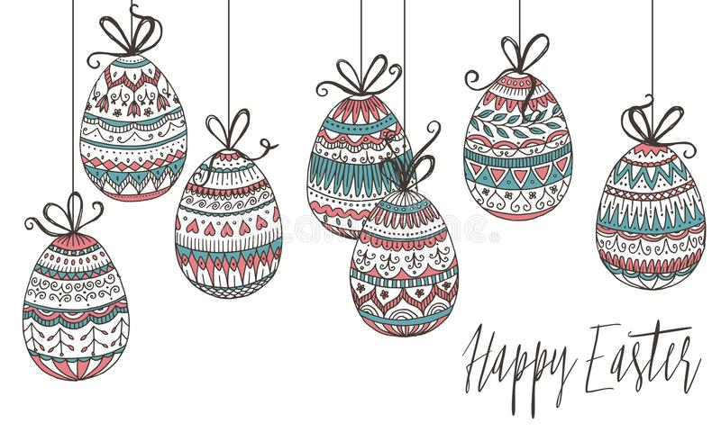 Colorful Easter eggs. Colorful hanging Easter eggs with detailed, hand drawn pattern royalty free illustration