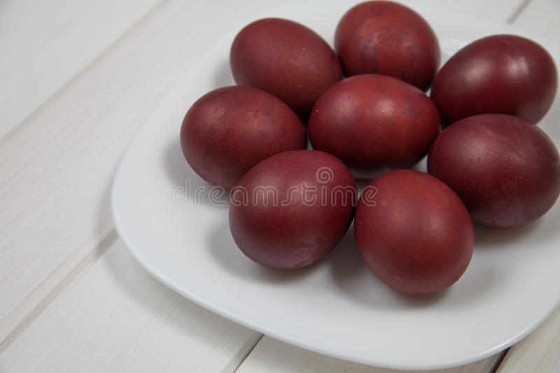 Colorful easter eggs with happy easter stock image