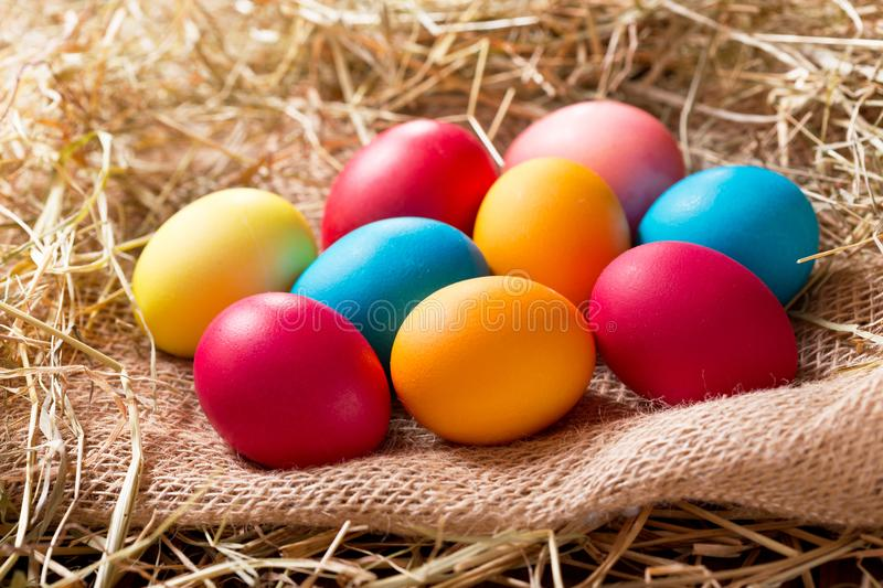 Colorful Easter eggs in a hay. Colorful Easter eggs in a heap of hay stock image
