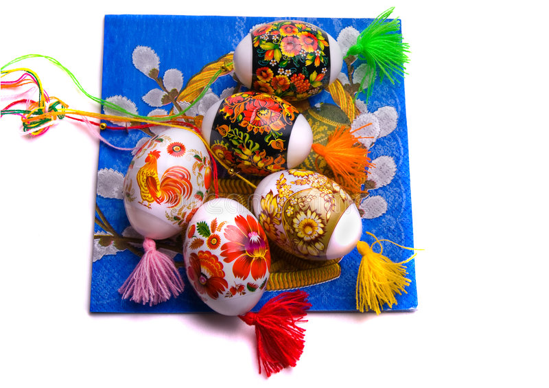 Colorful Easter Eggs, Isolated Stock Photography