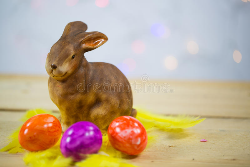 Colorful easter eggs, macro,with easter bunny, copy space. Colorful easter eggs, macro, copy space, easter bunny royalty free stock photos