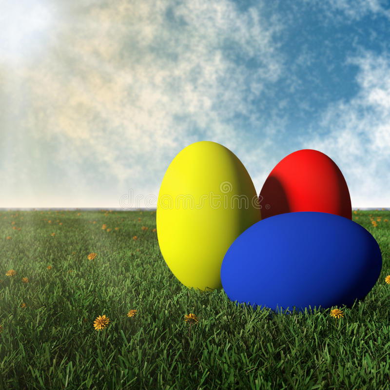 Colorful easter eggs in the meadow vector illustration