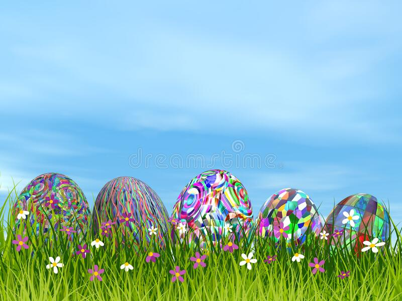 Colorful Easter eggs in nature - 3D render royalty free illustration