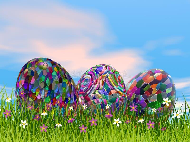 Colorful Easter eggs in nature - 3D render vector illustration