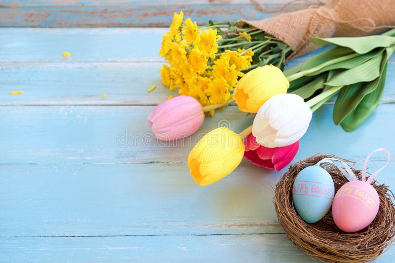 Colorful Easter eggs in nest with flowers on blue wooden background. stock photo