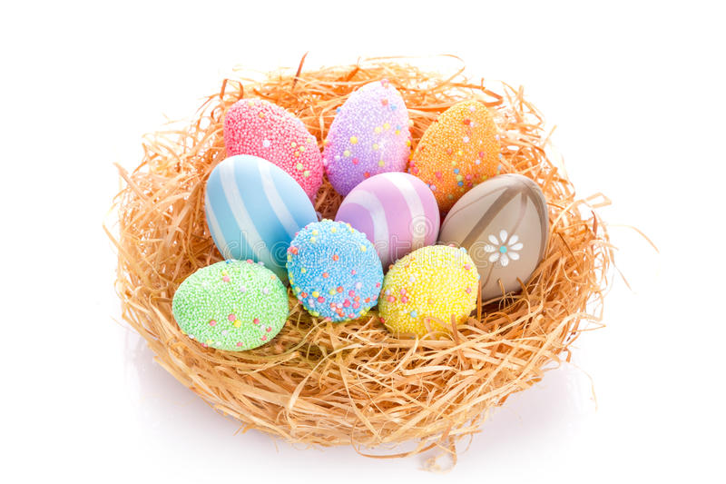 Download Colorful Easter Eggs In The Nest Stock Photo - Image: 29983124