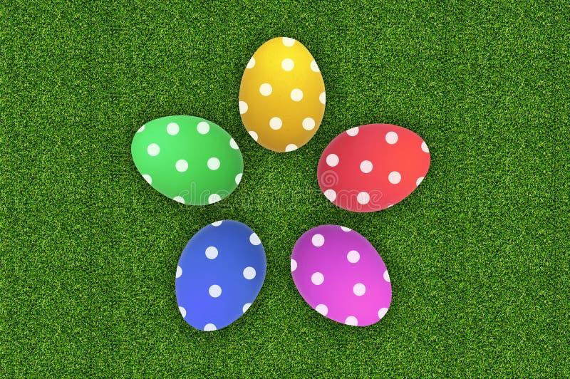 Colorful Easter Eggs over green grass stock photos