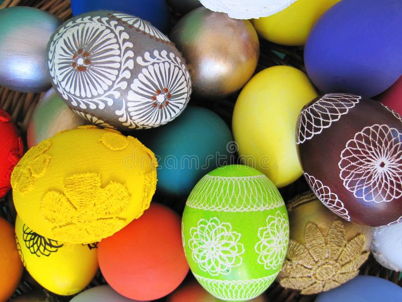 Colorful Easter eggs pattern royalty free stock images