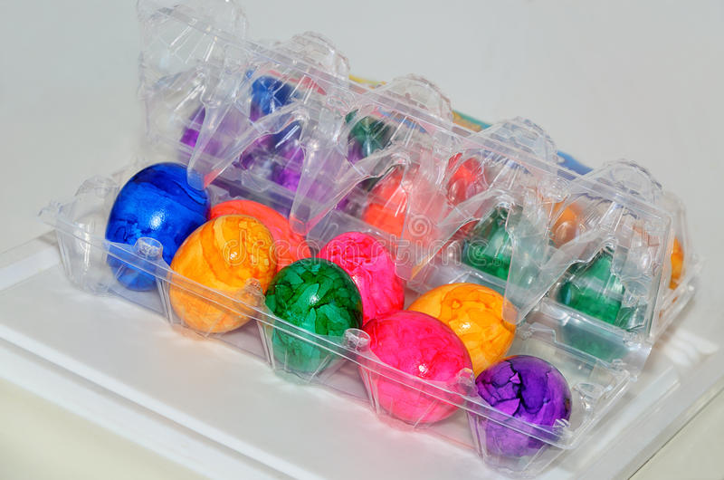 Colorful Easter Eggs in a Plastic Box. Close up royalty free stock photo