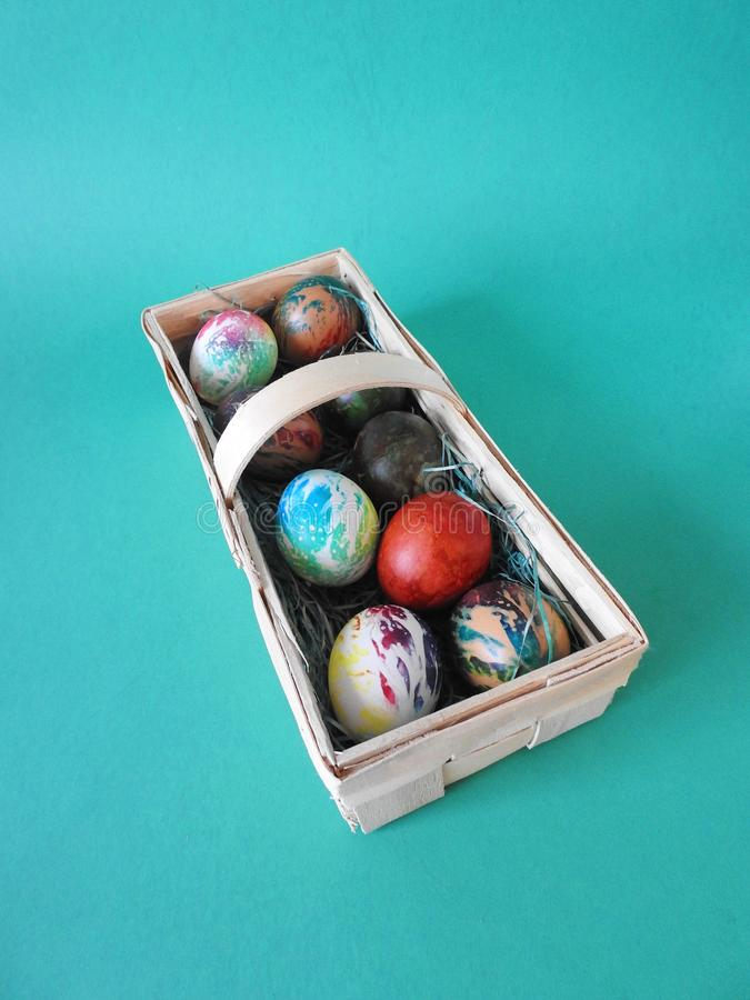 Colorful Easter eggs in pouch stock photo