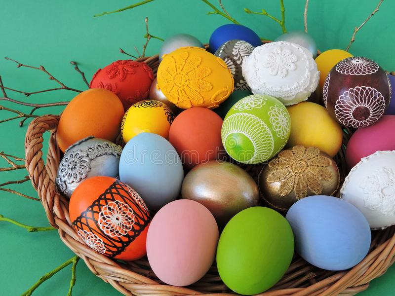 Colorful Easter eggs in pouch royalty free stock photo