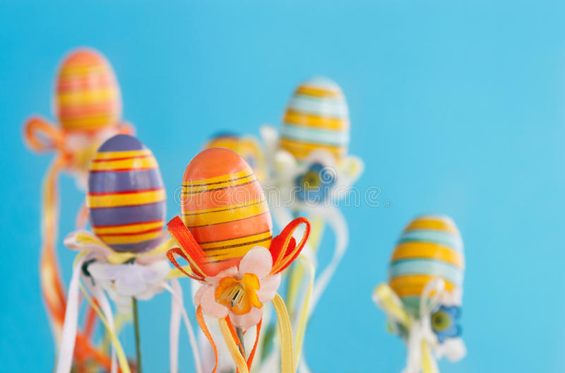 Colorful easter eggs with ribbons stock image