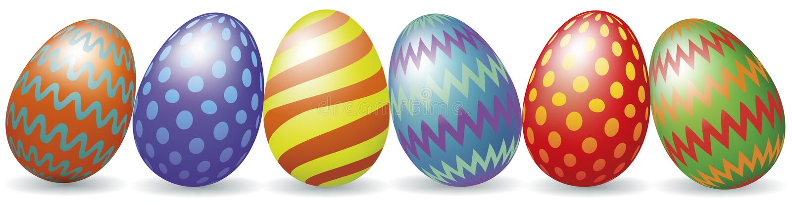 Easter eggs with shadow. Colorful Easter eggs with shadow isolated on white vector illustration