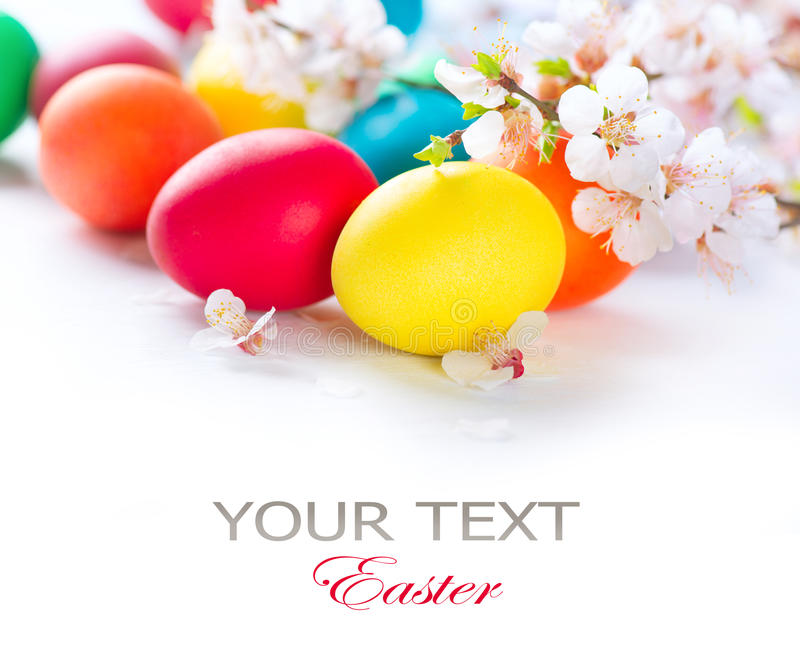 Colorful Easter Eggs. Easter. Colorful easter eggs with spring blossom flowers royalty free stock photo