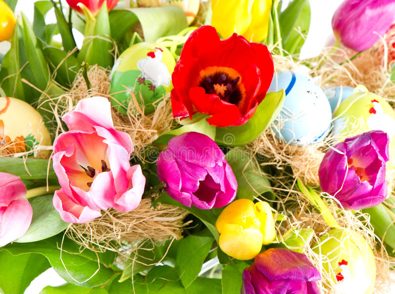 Download Colorful Easter Eggs With Tulips Stock Photography - Image: 22786962