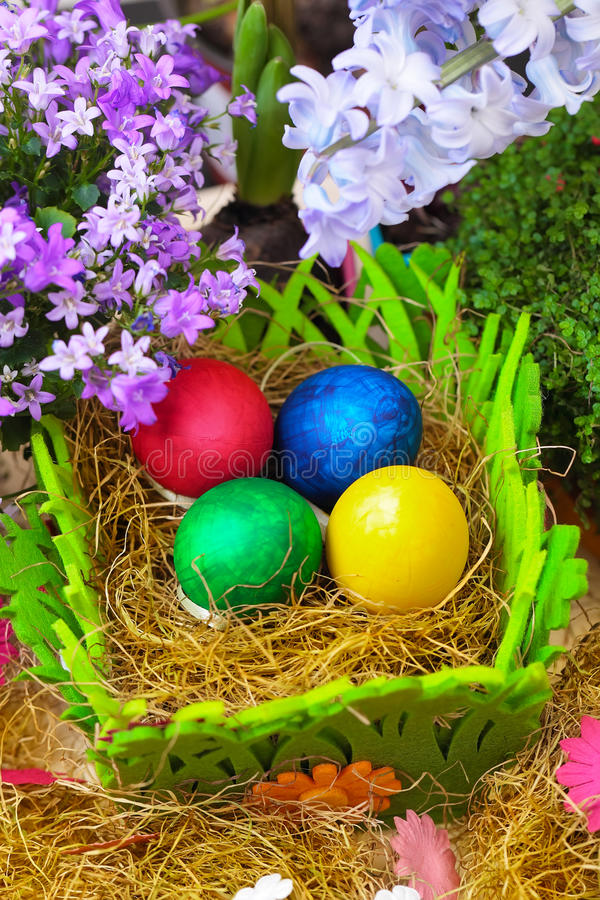 Colorful easter eggs, vertical composition royalty free stock photos