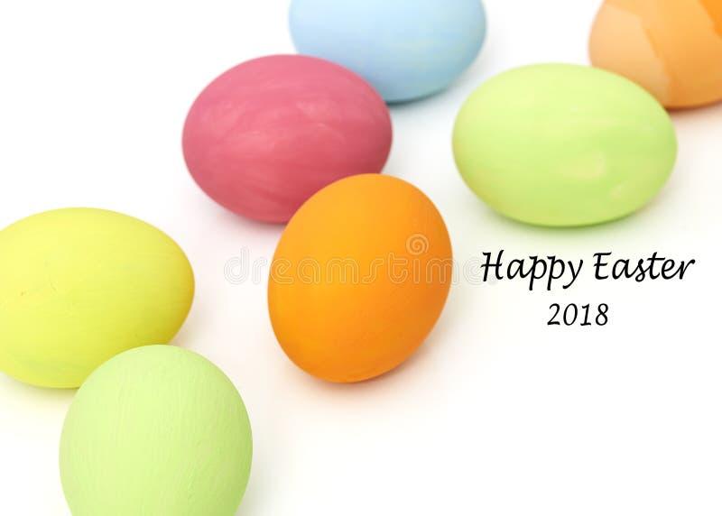 easter eggs on white stock image