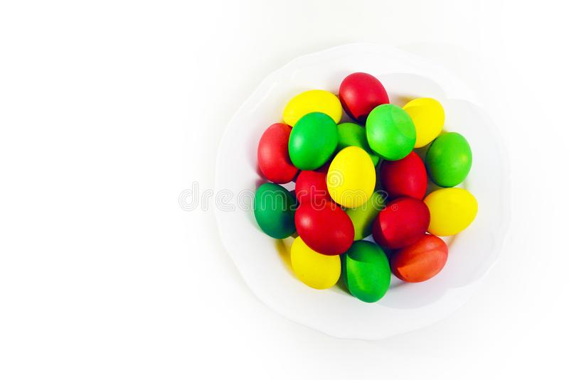 Colorful Easter eggs on white background. royalty free stock image