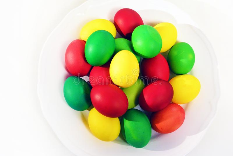 Colorful Easter eggs on white background. stock images